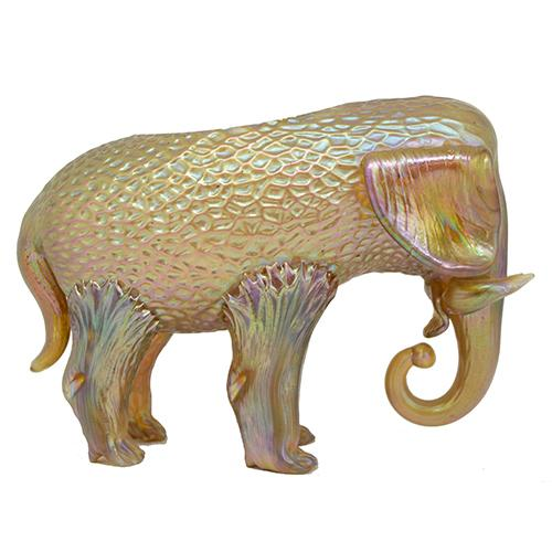 "Loetz: Gold Elephant Art Glass Vase, 4.5"" x 6.5"" x 2.5"""