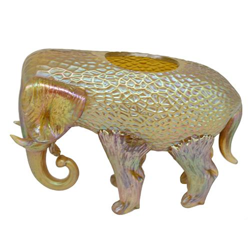 Loetz: Gold Elephant Art Glass Vase, 4.5