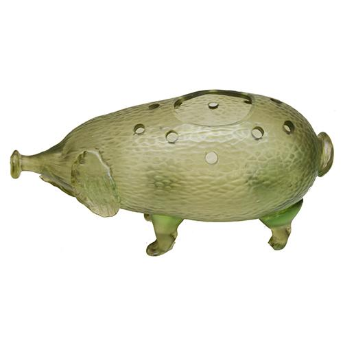 Loetz: Green Pig Art Glass Vase, 4.5
