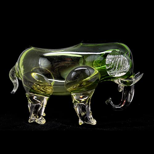 Loetz: Green Elephant Art Glass Vase, 9""