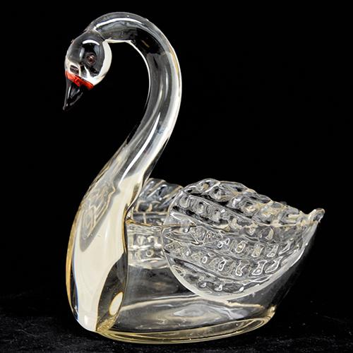Loetz: Clear Swan Art Glass Swan Vase or Bowl, 8.25""