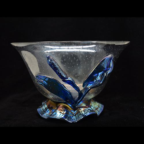 "Loetz Controlled Bubble Bowl with Applied Iridescent Blue Cattail, 5.5"" h."