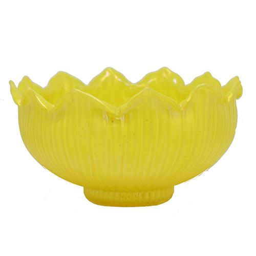 "Yellow Lotus Art Glass Bowl, 9"" by Loetz"