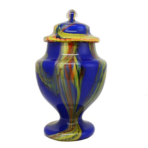 Covered Bohemian Art Glass Urn by Kralik