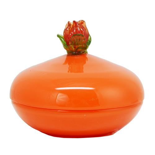Orange Tango Art Glass Dresser Box with Flower Finial by Loetz