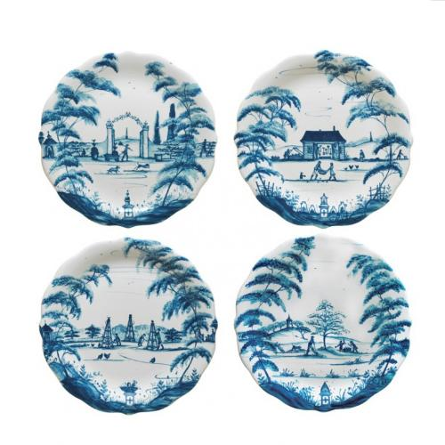 Country Estate Delft Blue Party Plates Set of 4, Spring Gardening Scenes by Juliska