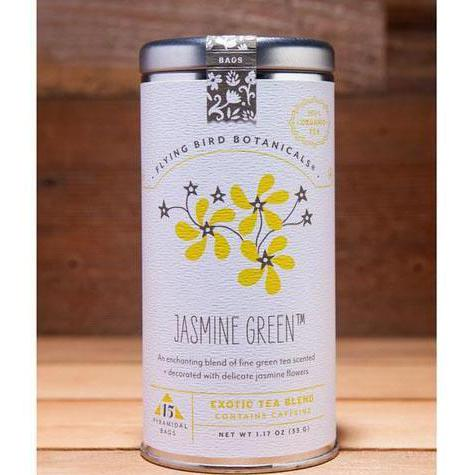 Jasmine Green Tea, Tin of 15 Sachets by Flying Bird Botanicals