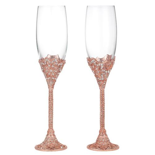 Rose Windsor Champagne Flute Two Piece Set by Olivia Riegel