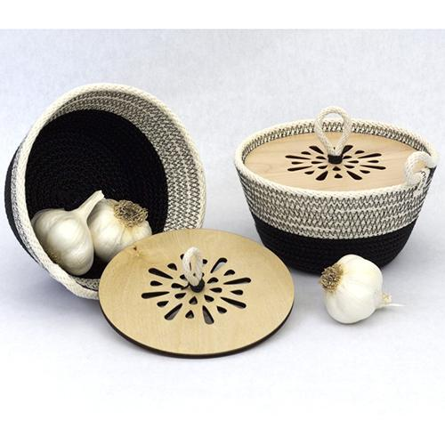 Garlic Woven Bowl with Wooden Lid