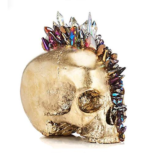 Gold Crystal Pointed Skull by Lisa Carrier Designs