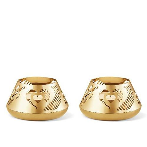 2019 Christmas Heart 18 Kt Gold Plated Tealight Holder, Set of 2 by Sanne Lund Traberg for Georg Jensen