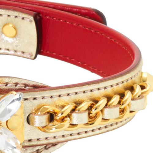 Gold Lamé Calfskin Dog Collar by Olivia Riegel