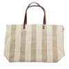 Hardelot Natural & White  Linen Shopping Bag with Leather Handle and Inner Pocket by Thieffry Freres & Cie