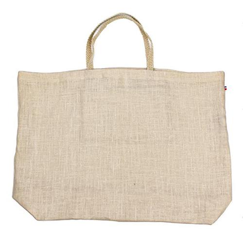Bagatelle Natural Linen Shopping Bag with Braided Handle and Inner Zipper Pocket by Thieffry Freres & Cie