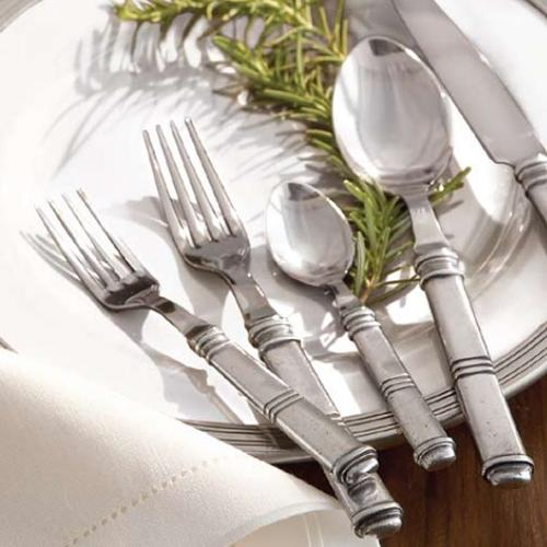 Isabella 5-Pc Flatware Place Setting in a lifestyle image by Arte Italica