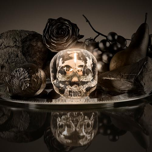 "Still Life Clear 4"" Skull Votive by Ludvig Löfgren for Kosta Boda"