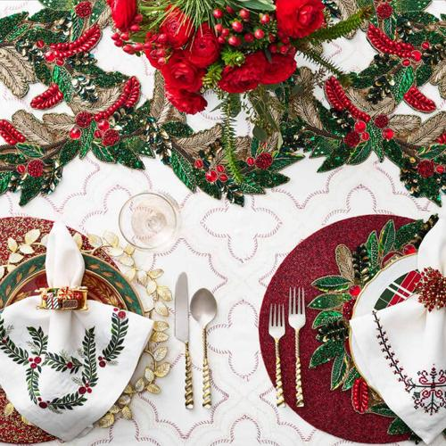 Yuletide Napkin in a lifestyle with other products by Kim Seybert