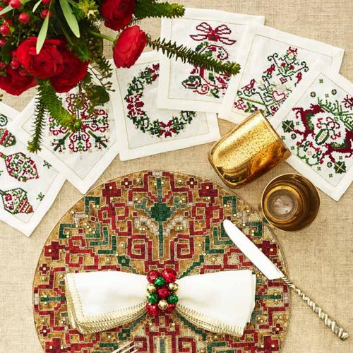 Yuletide Cocktail Napkins in a lifestyle with other products by Kim Seybert