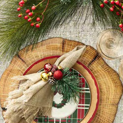 Christmas Sprig Napkin Ring in a lifestyle with other products by Kim Seybert