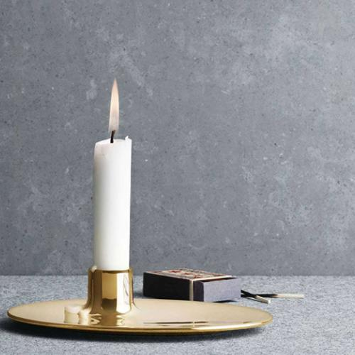 Brass Candle Holder by Ilse Crawford for Georg Jensen
