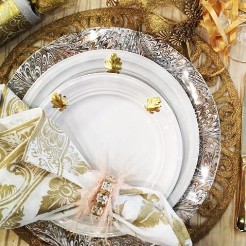 Acanthus Whitewash Side/Cocktail Plate, Gold by Juliska