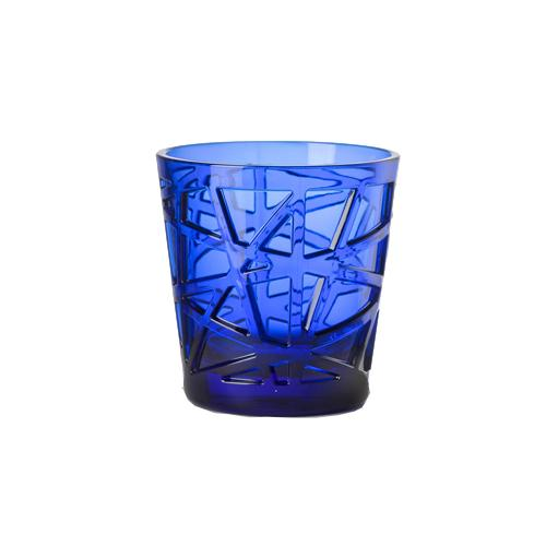 David Synthetic Crystal Acrylic Glass, 13 oz. by Mario Luca Giusti Blue
