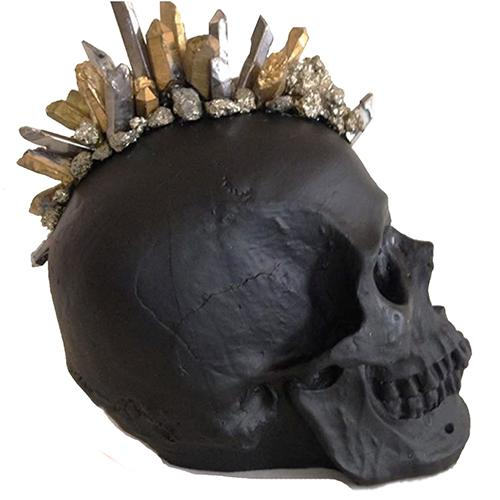 Black Matte Silver and Gold Quartz Crystal Mohawk Skull by Lisa Carrier Designs