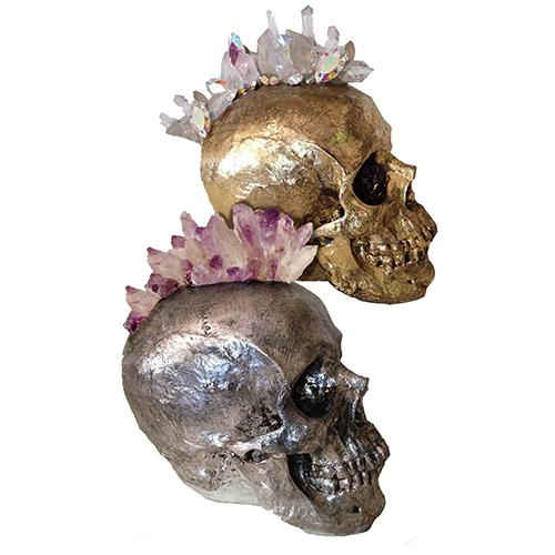 Quartz and Swarovski Crystal Skull by Lisa Carrier Designs