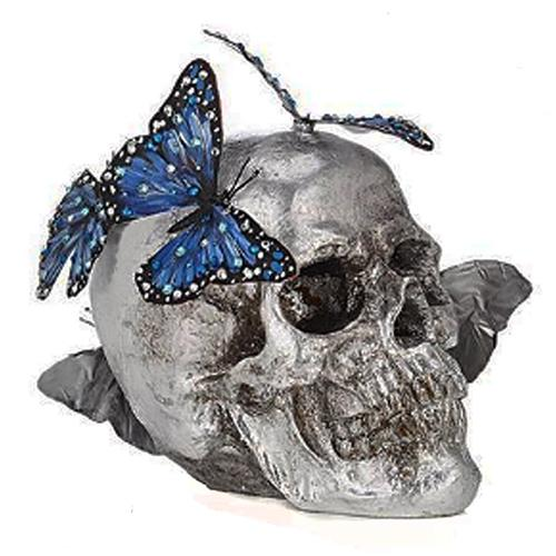 Silver Leaf and Blue Monarch Butterfly Skull by Lisa Carrier Designs