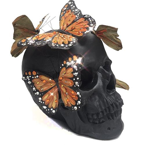 Black Matte and Amber Monarch Butterfly Skull by Lisa Carrier Designs