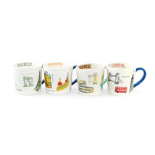 European City Mugs, Set of 4 by Rae Dunn for Magenta