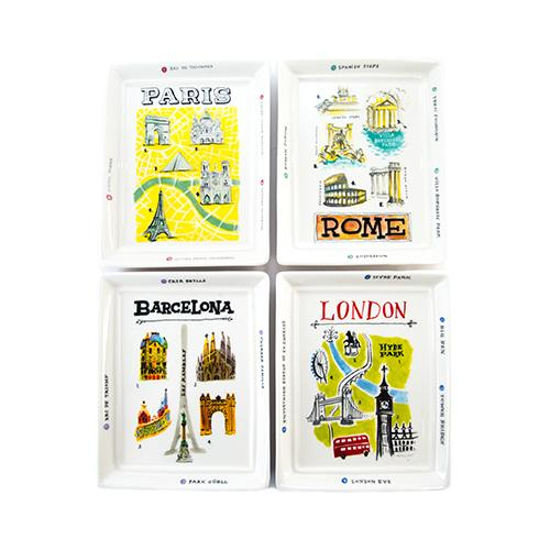 European City Trinket Trays, Set of 4 by Rae Dunn for Magenta