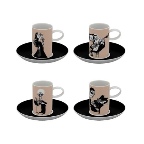A Viagem Musician Set of 4 Coffee Cups and Saucers by Vista Alegre