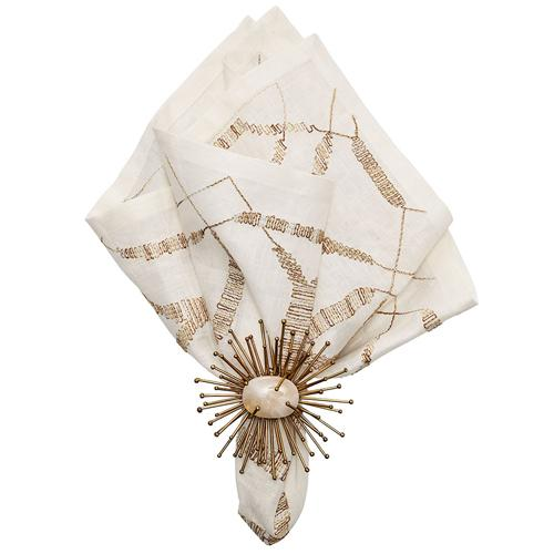 Variegated Napkins White and Gold, with napkin ring by Kim Seybert