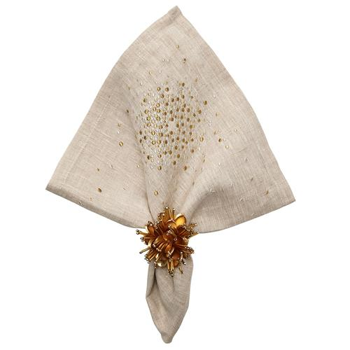 Starburst Napkin Natural, With napkin ring by Kim Seybert