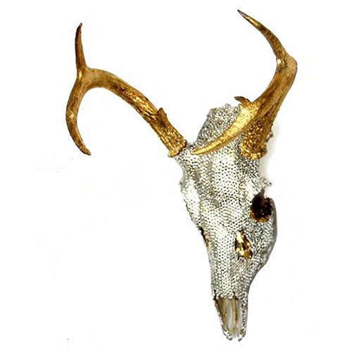 Deer Skull with Gold Leaf Horns and Swarovski Face by Lisa Carrier Designs