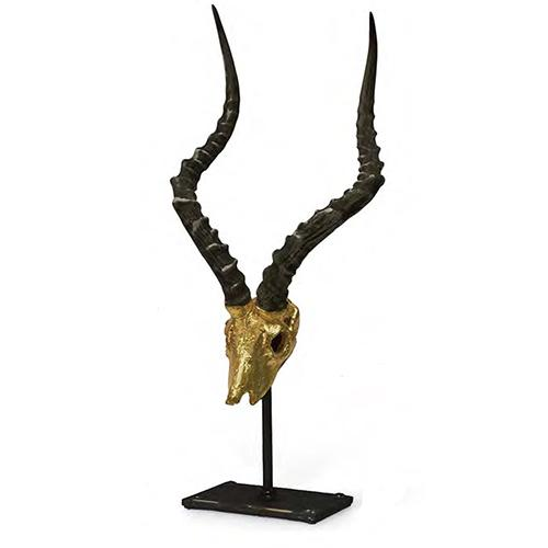 African Antelope on Stand with Gold or Silver Leaf Face by Lisa Carrier Designs
