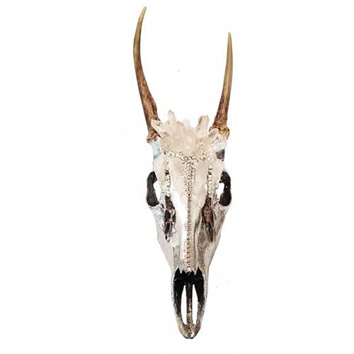 Silver Leaf Deer Deer Skull with Swarovski Crystal and Quartz by Lisa Carrier Designs