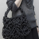 Neo33B Knotted & Twisted Neoprene Rubber Handbag by Neo Design Italy