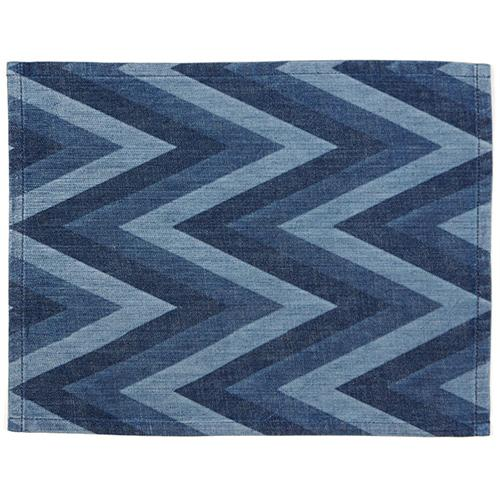 Denim Tri-Color Herringbone Pinstripe Rectangular Placemat by Mi Cocina