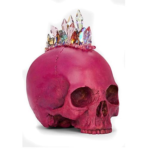 Hot Pink Confetti Crystal Skull by Lisa Carrier Designs