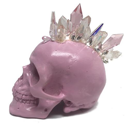 Dusty Rose Mohawk Crystal Petite Skull by Lisa Carrier Designs