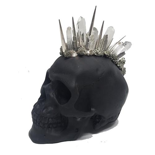 Matte Black  Mohawk Crystal Petite Skull by Lisa Carrier Designs