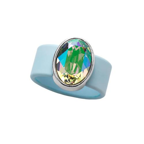 Paradise Shine Swarovski on Light Blue Rubber Band Ring by Olivia Riegel