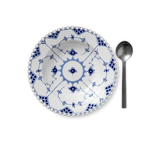 Blue Fluted Full Lace Rim Soup Plate by Royal Copenhagen