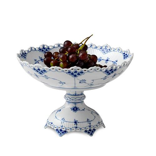 Blue Fluted Full Lace Footed Compote by Royal Copenhagen