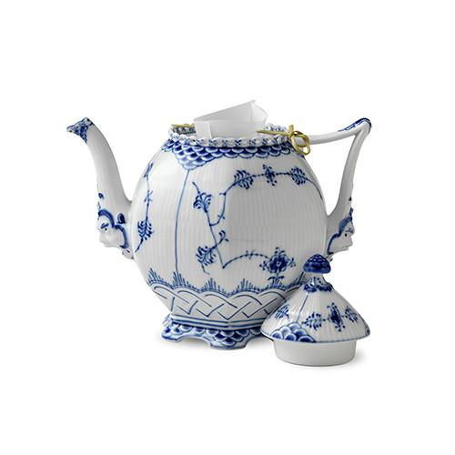 Blue Fluted Full Lace Teapot by Royal Copenhagen