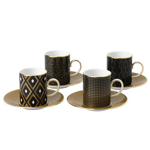 Arris Accent Espresso Cup & Saucer, Set of 4 by Wedgwood