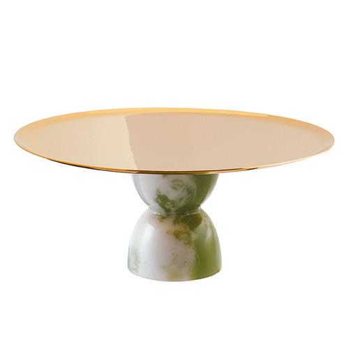 Madame Footed Stand, PVD Gold with Jade Base, 8.5