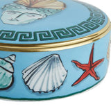 Il Viaggio di Nettuno Sea Blue Round Box Close-up by Luke Edward Hall for Richard Ginori